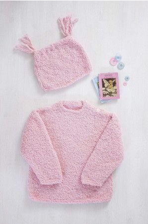 Baby tassel hat in pink knitting pattern