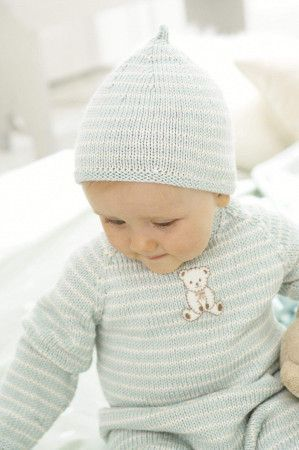 striped baby set of all-in-one, hat and mat knitting pattern
