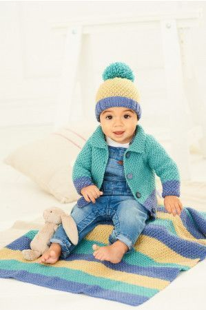 Cardigan, Hat and Blanket in Stylecraft Bambino DK (9757)