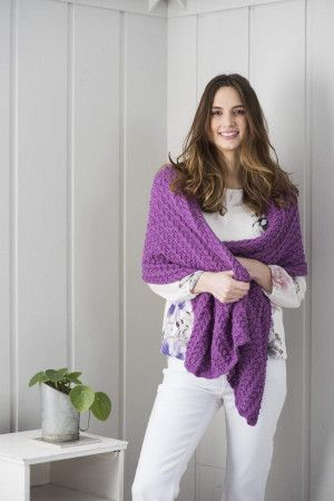 Lady with knitted mohair lace shawl