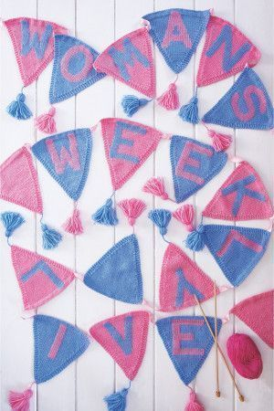 Bunting With Swiss Darned Alphabet Knitting Pattern