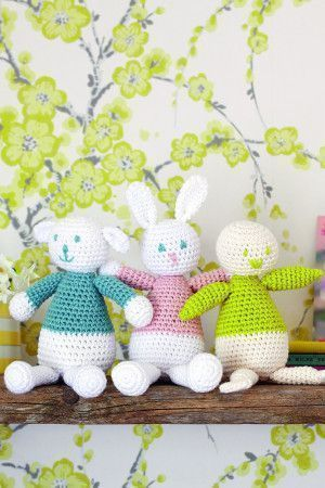 Crocheted amigurimi bunny, lamb and chick toys
