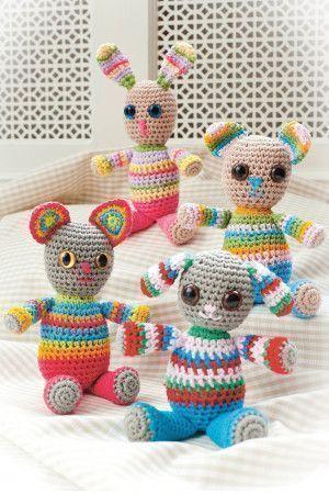 Crochet amigurumi rabbit, dog, cat and teddy tiny toys