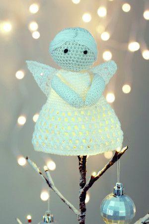 Crocheted angel Christmas tree topper