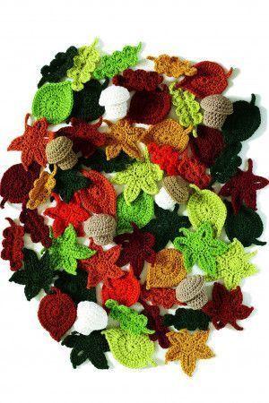 Colour crocheted autumn leaves
