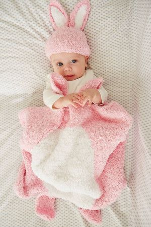 Baby bunny sleep set knitted in pink