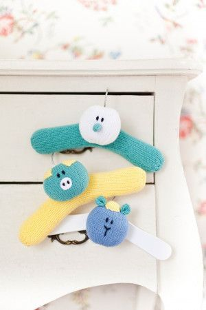 3 knitted novelty coat hangers for baby clothes