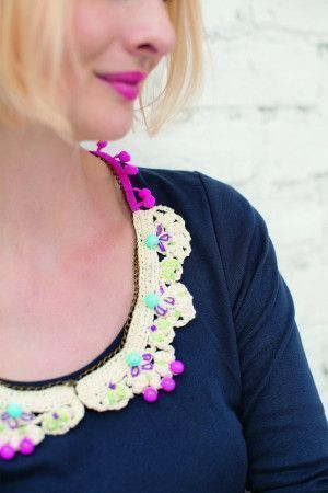 Ladies crocheted collar decorated with beads