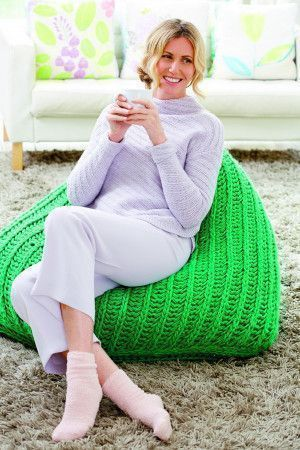 Large knitted bean bag cushion