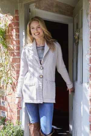 Vintage a-line jacket with turn back collar knitting pattern