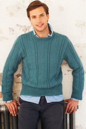 Man's knitted jumper with verticle cable pattern and round neck