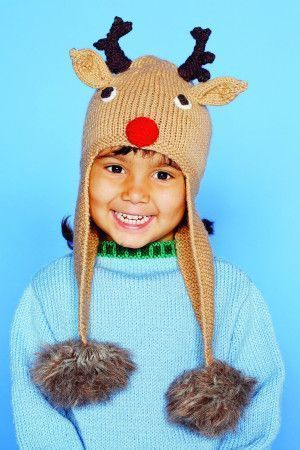 Children's Christmas hat with rudolph motif and antlers