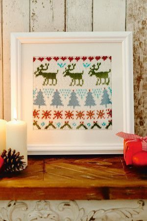 Christmas sampler with tree and reindeer pattern