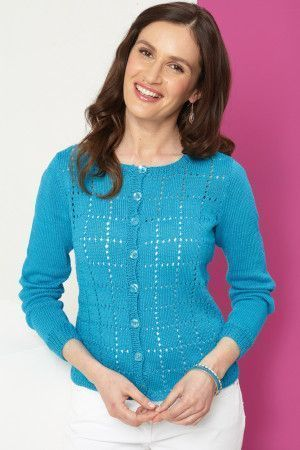 Ladies' cardigan with square lace design and buttoned front