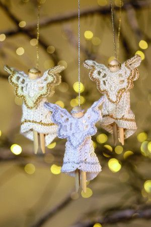 Crocheted angel Christmas decorations
