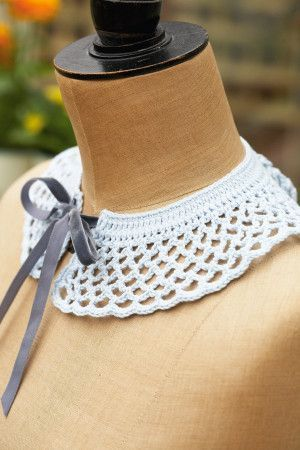 Pretty retro crocheted collar with tie fastening