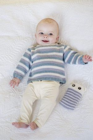 Striped baby sweater and matching toy knitting pattern