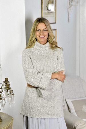 Women's Baggy Oversized Roll Neck Sweater Knitting Pattern