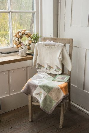 childs bunny motif jumper and blanket
