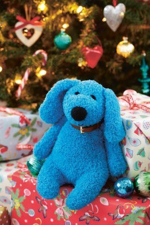 Blue cuddly knitted dog toy