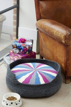 Crochet dog bed with knitted round cushion