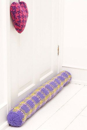 Knitted Fair Isle door draft excluder and heart-shaped pouch
