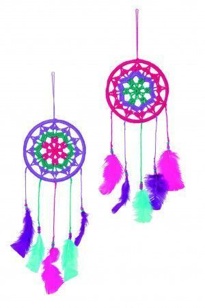 Pair of pink, puple and green crocheted dreamcatchers