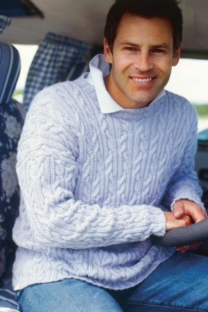 Drop Sleeve Cable Mens Jumper Knitting - The Knitting Network