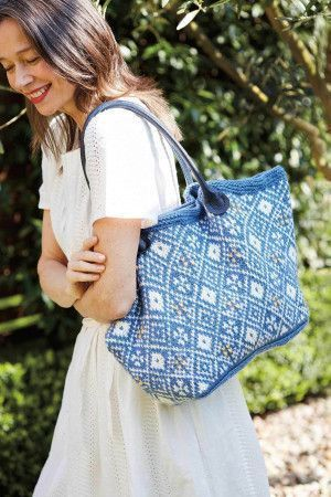 Blue and white Fair Isle bag with handles