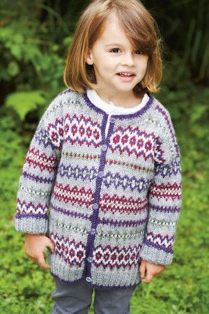 Fair Isle Girls Cardigan Knitting Pattern - The Knitting Network
