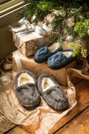 Family Slippers With Cables Knitting Pattern - The Knitting Network