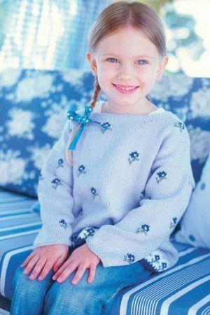 Flower Pattern Girls Jumper Knitting Pattern - The Knitting Network