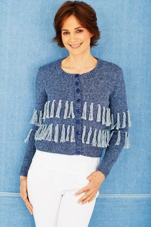 Knitted ladies cardigan with fringing