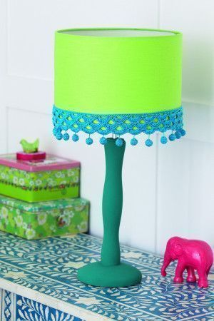 Lime green lampshade with a teal trim