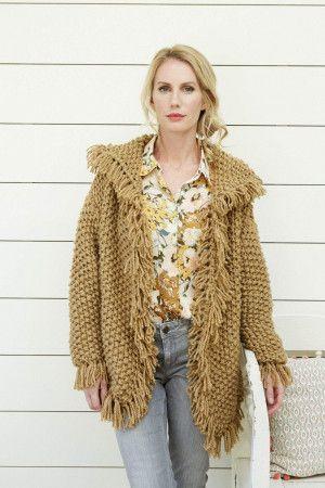 Women's Chunky Collared Fringe Edge Jacket Knitting Pattern
