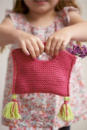 Girls Bag With Tassels Knitting Pattern - The Knitting Network