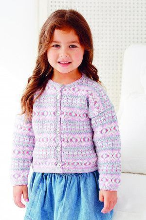 Knitted Fair Isle cardigan for girls with buttons