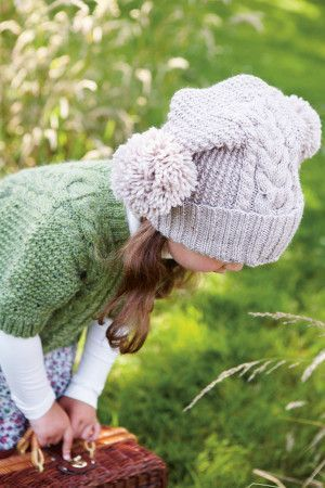 Knitted winter bobble hat for girls