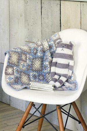 Blue and grey crochet granny square blanket