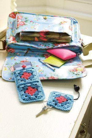 Match a crochet mobile case with your key ring