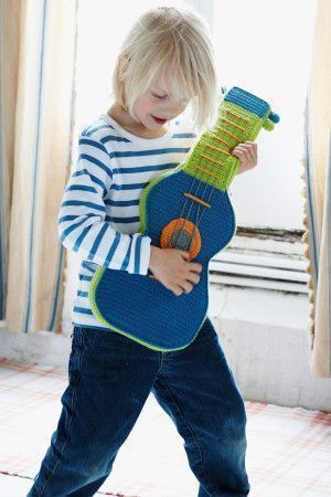 Crochet guitar toy for young music fans to play with