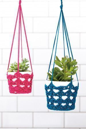 Pink and blue crocheted hanging baskets