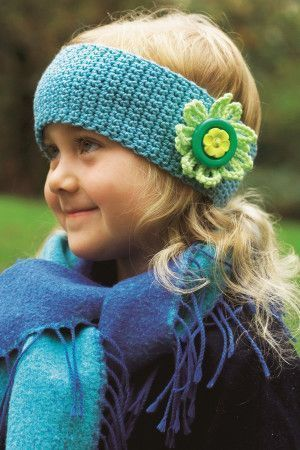 Crocheted wide headband with bold flower trim in two colours