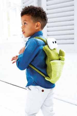 Children's frog backpack with matching toy
