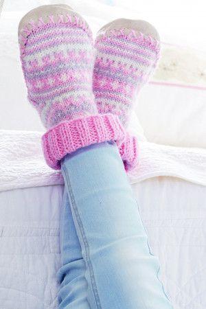 Kids Fair Isle Slippers Knitting Pattern