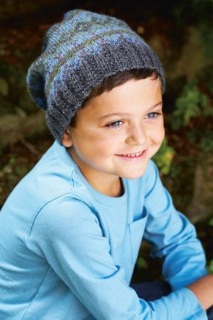 Child's Fair Isle knitted hat in grey and blue with ribbed edge