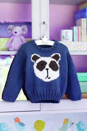 Knitted children's jumper with panda face