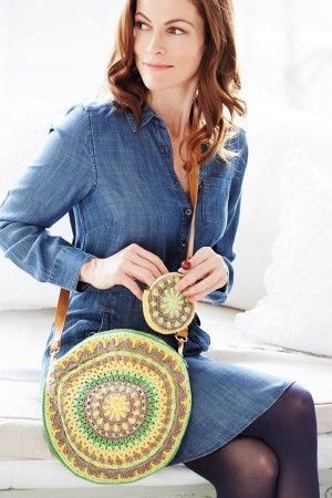 Round crocheted mandala bag and purse