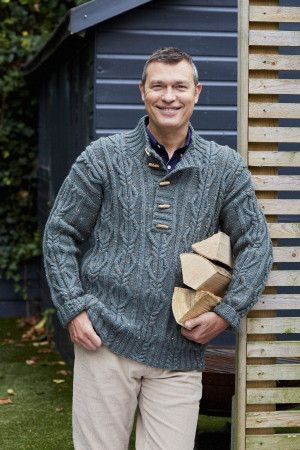 Mens grey tweed knitted cable sweater with stand up collar and fly neck secured with toggles
