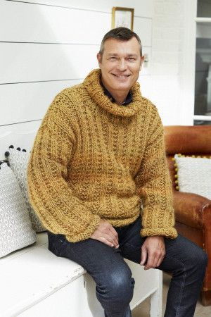 chunky mens knitted sweater with roll neck